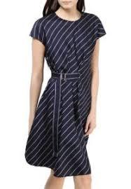 Офисное <b>платье</b> - Синее <b>платье</b> в полоску <b>Sportmax Code</b> ...