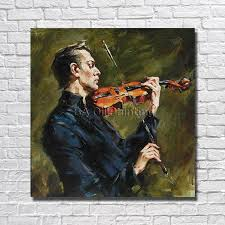 <b>Free Shipping 100</b>% <b>Hand</b> painted Abstract Man Play Violin Oil ...
