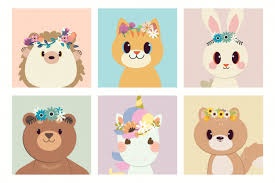 The collection of character of hedgehog cat <b>rabbit bear unicorn</b> and ...
