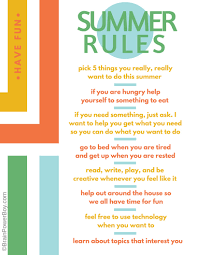 printable summer rules list an alternative get your printable summer rules list alternative and have a wonderful summer you and your