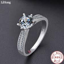 Luxury Jewelry Simulation Diamond Ring 100% <b>925</b> Sterling <b>Silver</b> ...