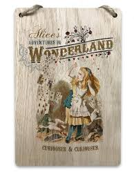 Alice in Wonderland <b>Wooden Hanging Plaque</b> Sign - Traditional ...