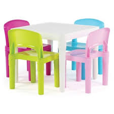 Tot Tutors Snap-Together <b>5</b>-<b>Piece</b> Table and Chairs Set in <b>Neon</b> ...