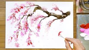 Cherry <b>Blossom</b> Tree Acrylic <b>Painting</b> Technique - YouTube