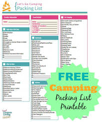 camping packing list printable a well great deals and trips camping printable and packing list on frugal coupon living bie