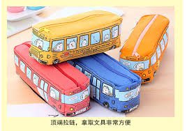 <b>Novelty Animals School Bus</b> Shape Canvas Pencil Case Stationery ...