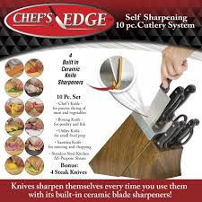 kitchen items store: chefs edge self sharpening knife block and knife set
