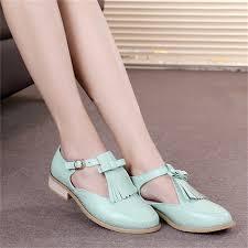 <b>Women genuine Leather oxford</b> Sandals tassel shoes women ...