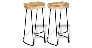 <b>Bar Stools 2 pcs</b> Solid Mango Wood - Matt Blatt