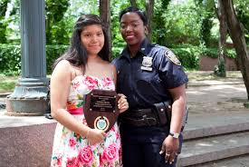 police commissioner for a day thinks kids should be positively engaged police officer shantel mckinnes and essay contest winner vanessa vicuna outside of nyc police headquarters on 5 samira bouaou the epoch times