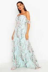 Floral <b>Off</b> The <b>Shoulder Maxi</b> Dress | Boohoo