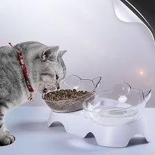 Pet <b>Cat Bowl Double</b> Bowl Tilting Mouth <b>Double Drinking</b> Water ...