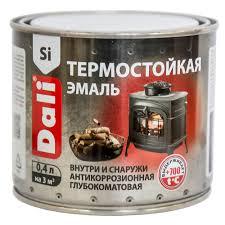 <b>Эмаль термостойкая</b> кремнийорганическая <b>Dali</b> черная 0,4 л ...