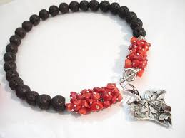 Santorini Black Lava Coral <b>Contemporary Necklace</b> Statement ...