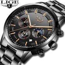 <b>LIGE Casual Fashion Mens</b> Watches Brand Quartz WristWatch Men ...