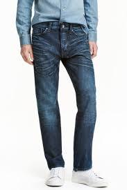<b>Джинсы Straight</b> - Темно-синий стираный - Мужчины | H&M RU