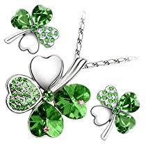 18K White Gold Plated, Emerald Green Love Hearts Four <b>Leaf</b> ...
