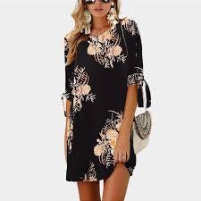 <b>2019</b> Women Summer Dress <b>Boho Style</b> Floral Print Chiffon Beach ...