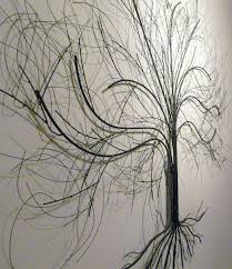 tree scene metal wall art: this detailed piece of metal wall art consists of formed metal rods