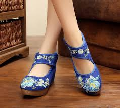 <b>Pointed Old Beijing Flower</b> Embroidered Women Shoes Mary Jane ...