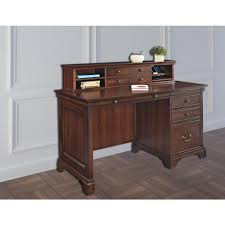 Computer Desk Cabinet Dark Brown Wood Desks Home Office Furniture Furniture