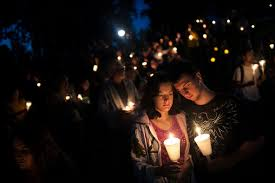 Image result for images for crowd gather at Oregon school shooting for vigil
