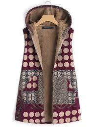 <b>women sleeveless polka dot</b> print pocket warm coats at Banggood