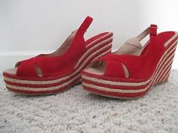 <b>Palomitas by Paloma Barcelo</b> Red Wedge Espadrille Shoes Size 40 ...