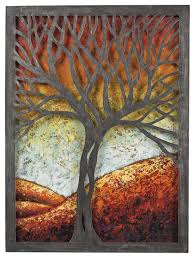 tree scene metal wall art: wall art autumn scene metal mixed media art decor multi colored hand painted colors with