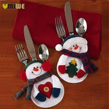 household dining table set christmas snowman knife: pcs set christmas decorations snowman cutlery bags christmas santa claus kitchen dining table cutlery suit