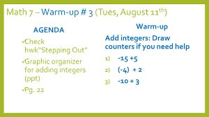math warm up friday th agenda check homework 4 math