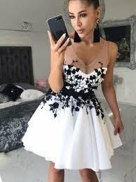 <b>Black Lace Applique</b> White Cheap <b>Short</b> Homecoming Dresses ...