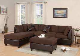 bright monochrome modern living room with dark brown fabric and leather ottoman coffee table dark brown fabric on top and leather l shaped cushion sofa with casual living room lots