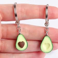 <b>New Simulation Fruit</b> Avocado Heart shaped Keychain 3D Soft ...