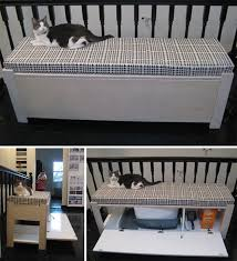 upholstered bench 27 useful diy solutions for hiding the litter box cat lovers 27 diy solutions