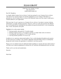 best customer service advisor cover letter examples livecareer