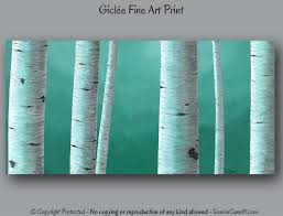 birch tree painting giclee fine art print teal wall art green gray home decor master bedroom office dining room artwork aspen aspen white painted bedroom