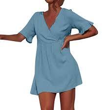 Soufun Solid Simple Dresses Fashion Women V-Neck <b>Plain</b> Short ...