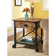 rustic end table industrial vintage style wood pine furniture country accent american retro style industrial furniture desk
