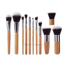 <b>11pcs</b> Vegan Makeup Brush With Bamboo <b>Handle Soft</b> Synthetic...