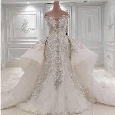 <b>Luxury</b> Beaded Mermaid Wedding Dress With Detachable Overskirt ...