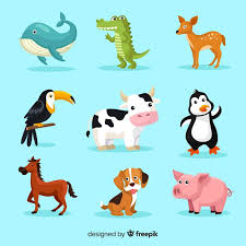 Set of <b>cute cartoon animals</b> Vector | Free Download