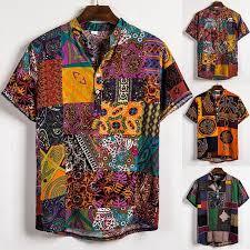 Mens <b>Ethnic Style</b> Color Block <b>Boho</b> Printed T Shirts <b>Short</b> Sleeve ...