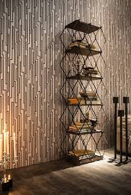 furniture extraordinary bookshelves with geometric metal frames integrate unusual wall paper print with futuristic lines chinese inspired furniture