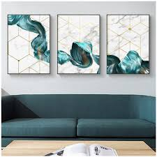 <b>Gohipang</b> Nordic Decorative Abstract Marble With <b>Blue</b> Gold Paint ...