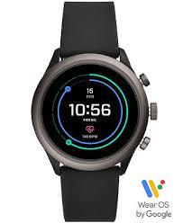 Fossil Men's <b>Sport</b> HR Black <b>Silicone Strap</b> Smart Watch 43mm ...