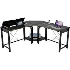 palomar l shaped computer desk black metal and glass paper laminate black metal computer desk