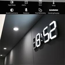 Digital Wall Clock 3D LED Alarm Clock Electronic Desk ... - Vova