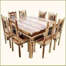 chair dining room tables rustic chairs: rustic square dining table and chair set seat  person solid wood furniture ebay