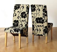 Fabrics For Dining Room Chairs Dining Chair Design Alluring Cream Black Flower Plant Pattern On